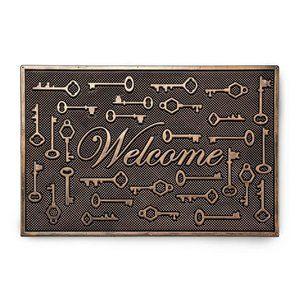 Allover Key Doormat Gold Brown Rubber